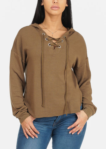 Olive Sweater Top with Hoodie