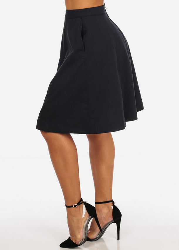 Fit And Flare Navy Skirt