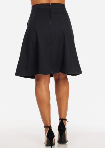 Stylish Sexy Going Out Fit And Flare Flaring Navy Skirt With Pockets