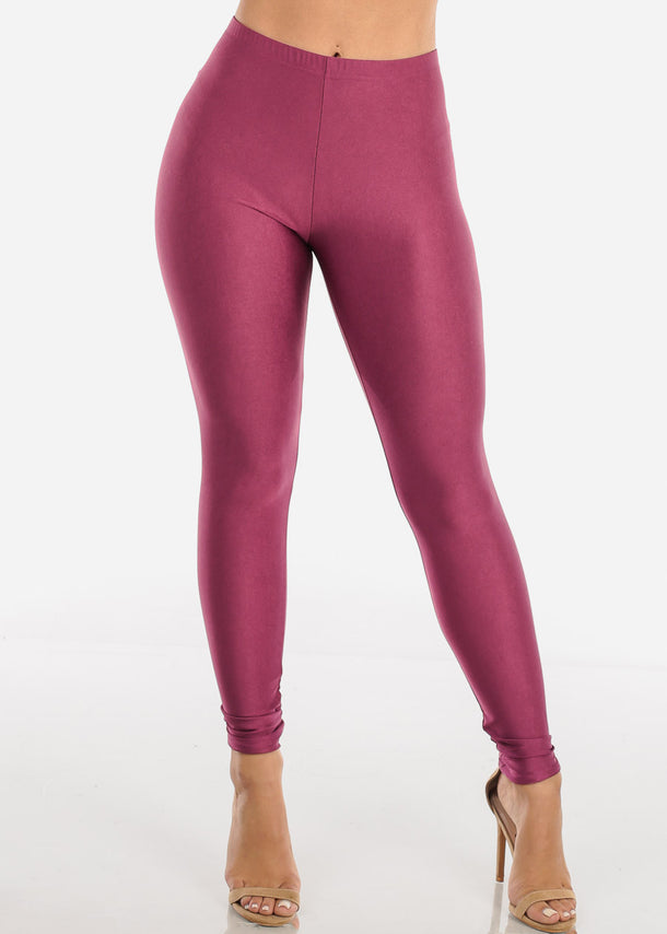 Metallic Purple Mid Rise Leggings