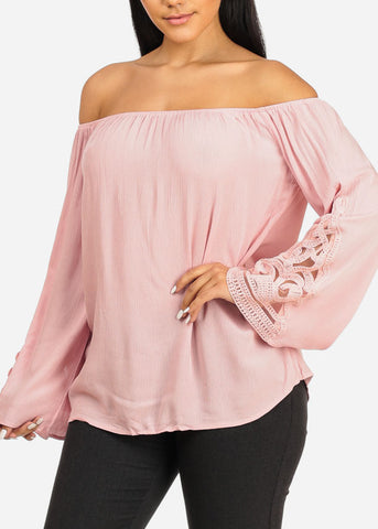 Image of Crochet Detail Pink Top