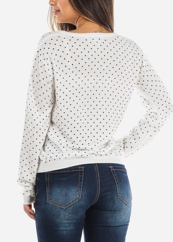 Image of White Polka Dot Sweater  BFT10669WHT