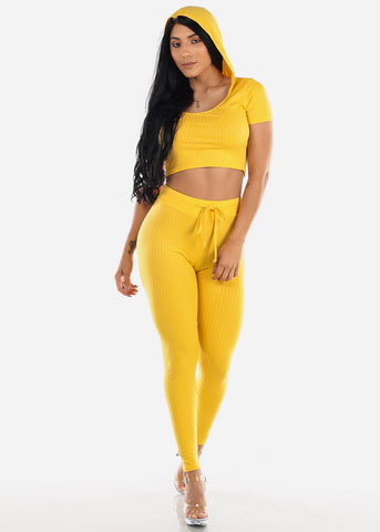Ribbed Yellow Crop Top & Pants (2 PCE SET)