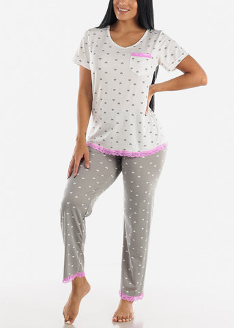 Grey Heart Printed Top & Pants (2 PCE PJ SET)