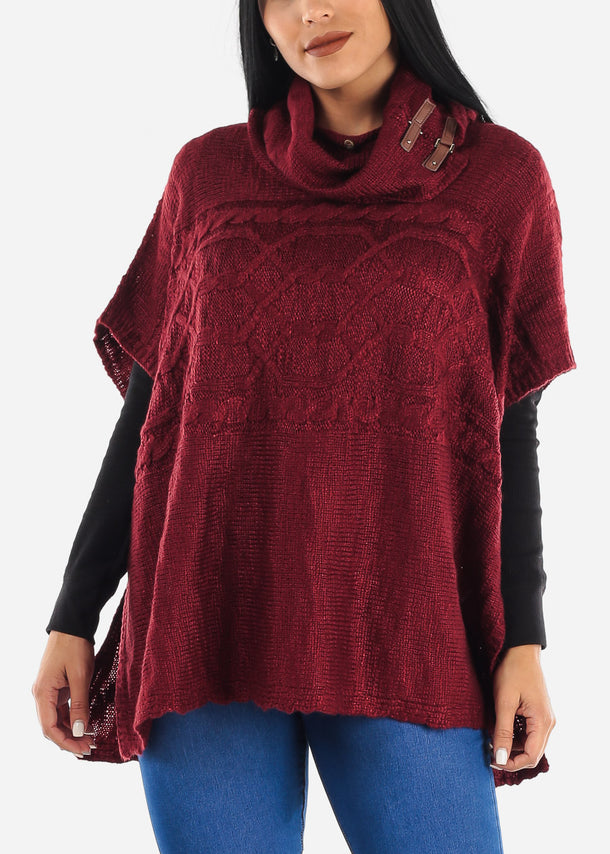 Red Knit Poncho Sweater