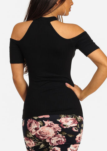 Sexy Cold Shoulder Keyhole Neckline Ribbed Black Stretchy Top