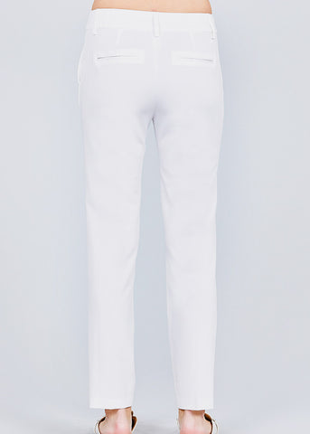 Image of White Straight Leg Dress Pants