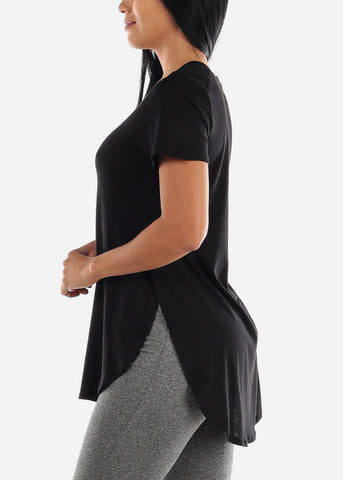 Side Slits Black Tunic Top
