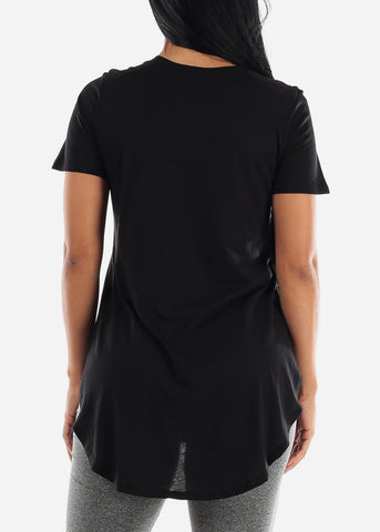 Image of Side Slits Black Tunic Top