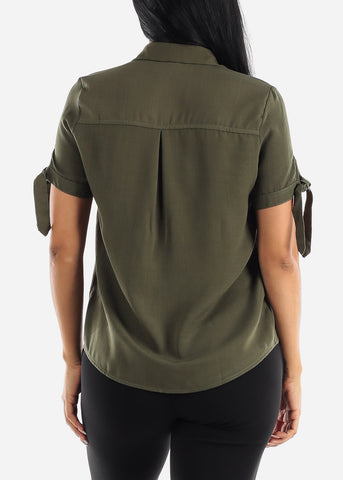 Image of Half Button Up Olive Blouse