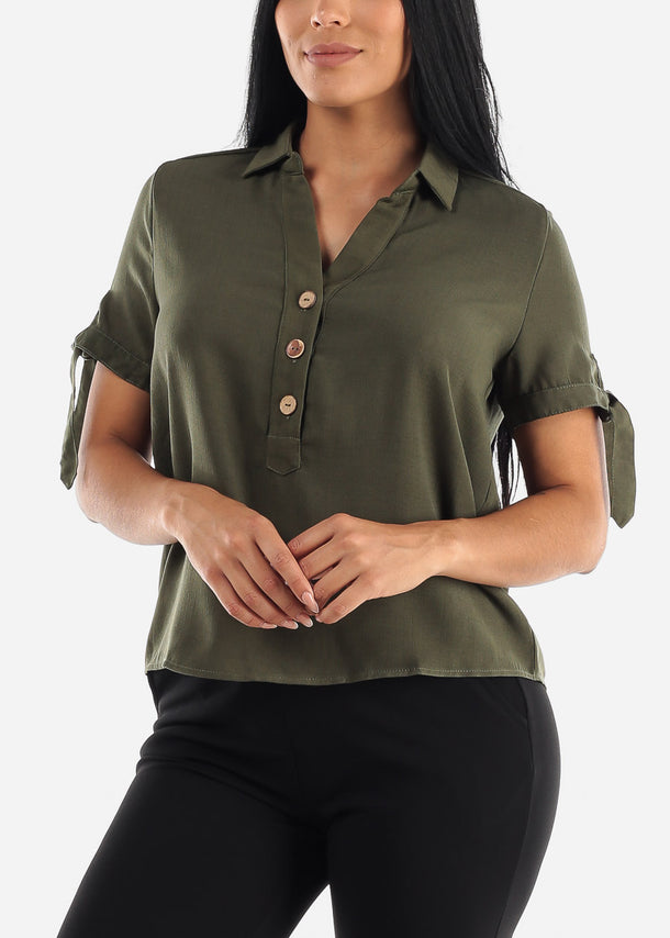 Half Button Up Olive Blouse
