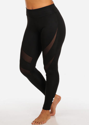 Activewear High Waisted Sheer Mesh Detail Leggings W Back Leg Stripes