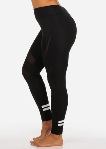 Image of Activewear High Waisted Sheer Mesh Detail Leggings W Back Leg Stripes