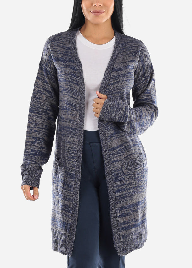 Heather Blue Knitted Maxi Cardigan