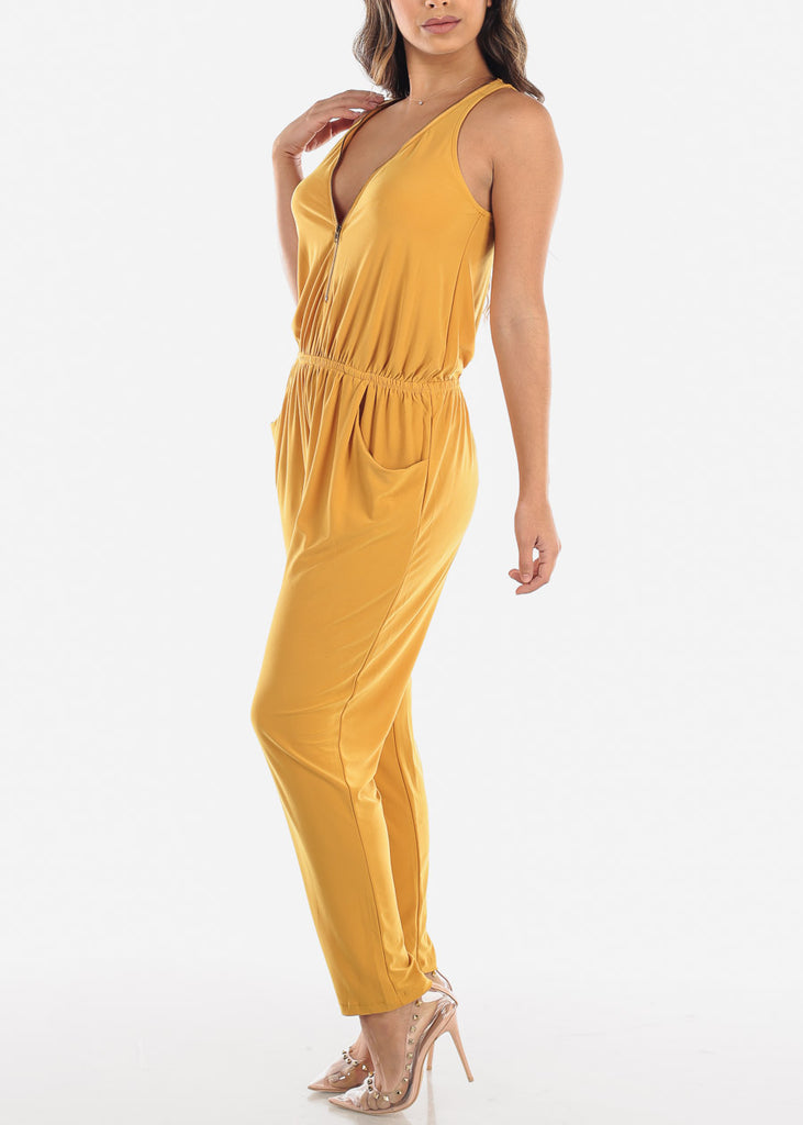 Zip Up Front Sleeveless Mustard Jumpsuit
