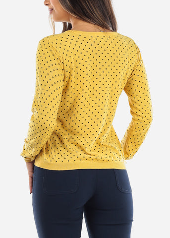 Image of Yellow Polka Dot Sweater  BFT10669YLLW