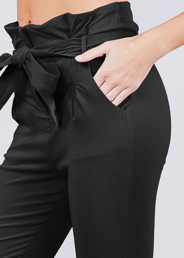 High Waisted Belted Black Pants