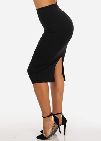 Image of Sexy Night Out Clubwear Office Business Wear Solid Black Stretchy Pencil Midi Skirt