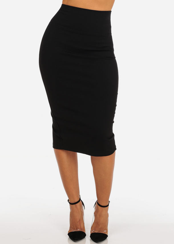 Sexy Night Out Clubwear Office Business Wear Solid Black Stretchy Pencil Midi Skirt