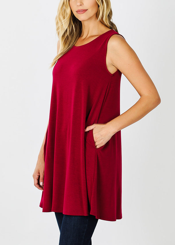 Wine Sleeveless Tunic Top W Pockets