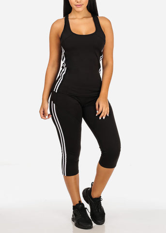 Black tank Top And High Rise Leggings (2PCE SET)