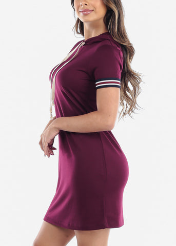 Cute Casual Slip On Burgundy T Shirt Loose Fit Dress With Hoody