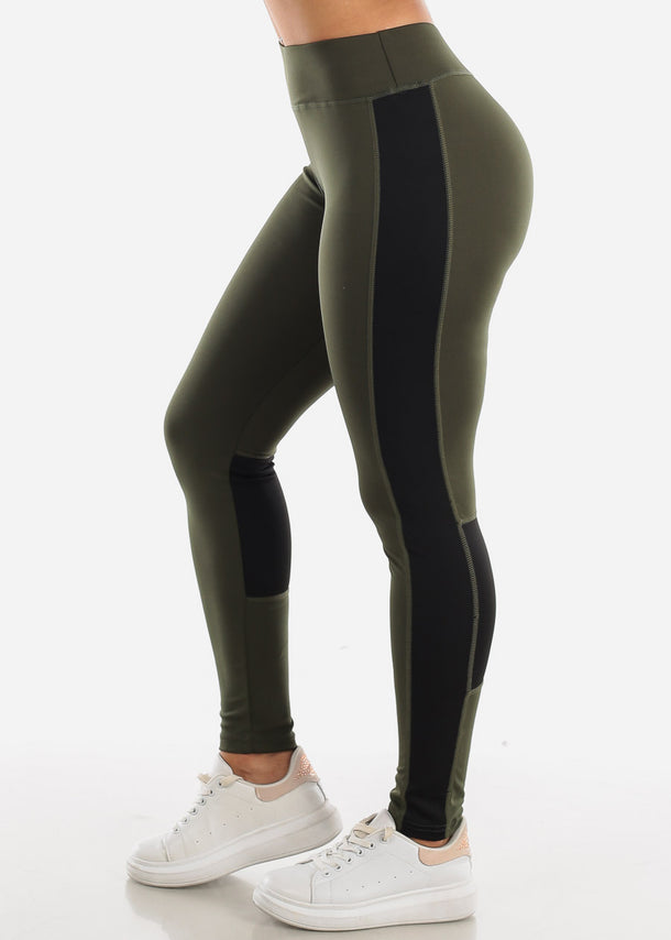Activewear Olive & Black Leggings