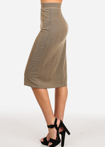 Women's Junior Ladies Professional Business Office Career Wear Printed Taupe Pencil Midi Skirt