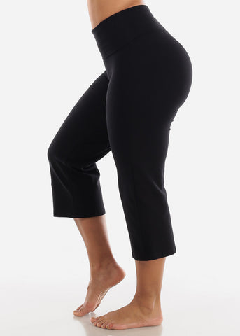 Black Cotton Spandex Fold Over Crop Yoga Pants