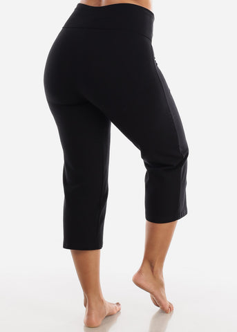 Image of Black Cotton Spandex Fold Over Crop Yoga Pants