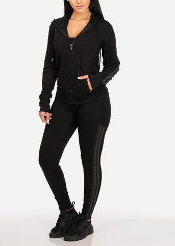Women's Juniors Stripe Sheer Mesh Detail Black And Grey Workout Leggings Top Jacket (3 PCE SET)