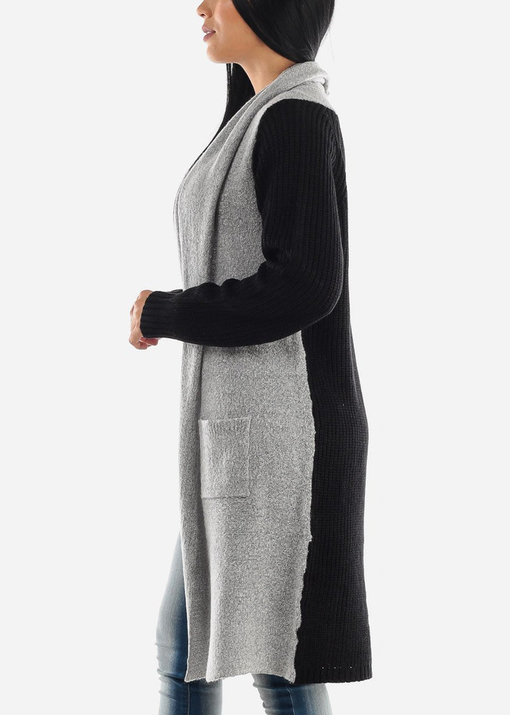 Two-Tone Black Knitted Maxi Cardigan