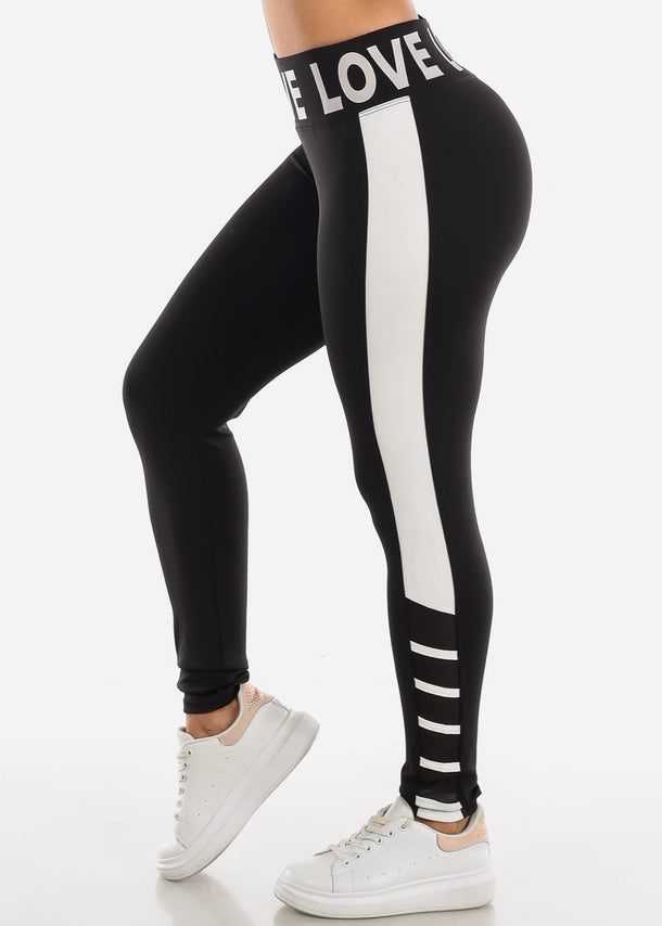 "Activewear Black & White Leggings ""Love"""