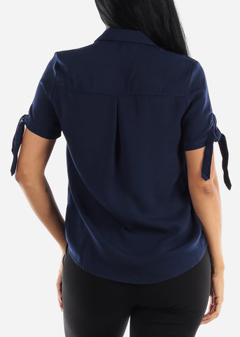 Image of Half Button Up Navy Blouse