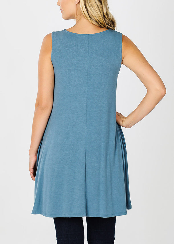 Titanium Sleeveless Tunic Top W Pockets