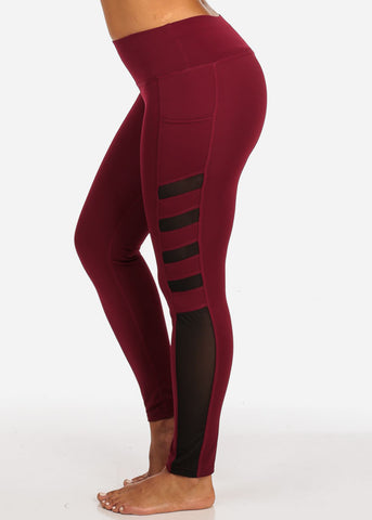 Image of Activewear Side Mesh Sheer Detail High Rise Burgundy Leggings