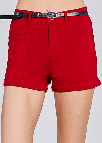 Image of Red Belted Shorts
