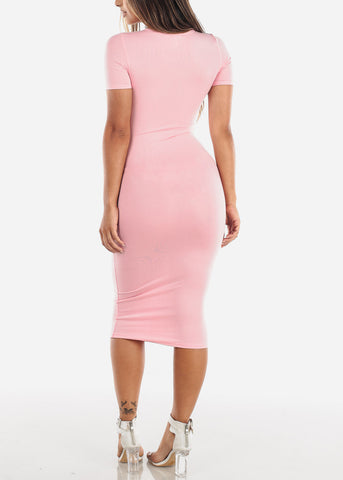 Image of Short Sleeve Light Pink Bodycon Midi Dress