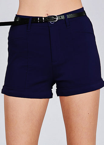 High Rise Belted Navy Shorts