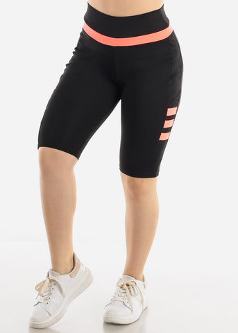 Image of Black & Coral Biker Shorts