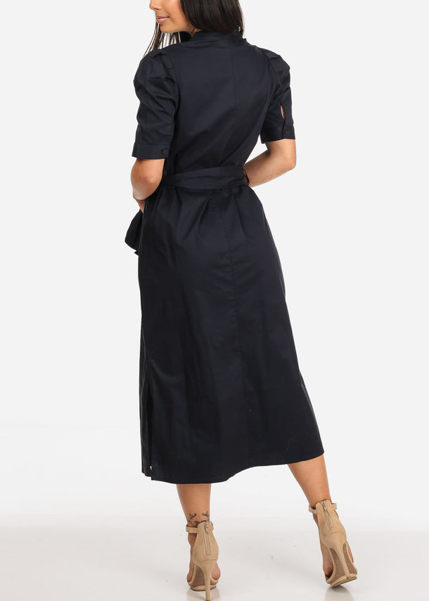 Stylish Button Up Navy Maxi Dress
