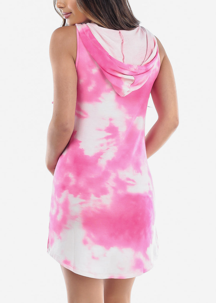 Cute Sleeveless Tie Dye Pink Dress For Women Ladies Junior At Discount Sale Price