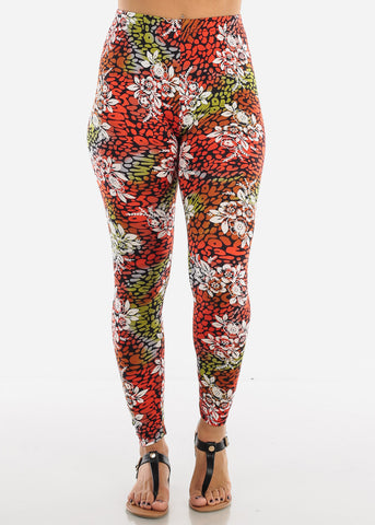 Red Multicolor Print Leggings L135RED