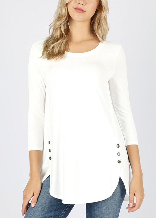 Casual Buttons Front White Tunic Top
