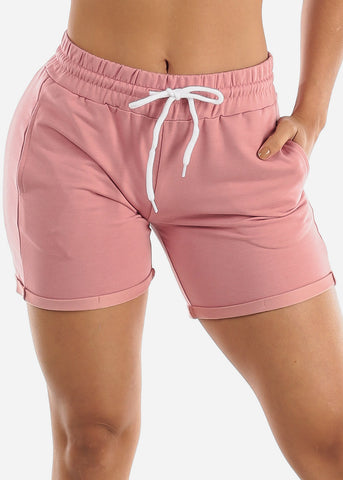 Image of Pink Drawstring Biker Shorts