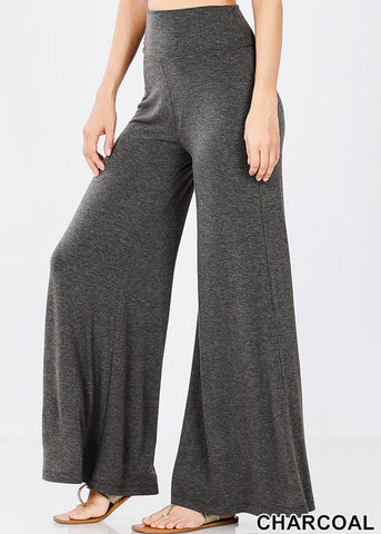 Image of High Rise Charcoal Palazzo Pants