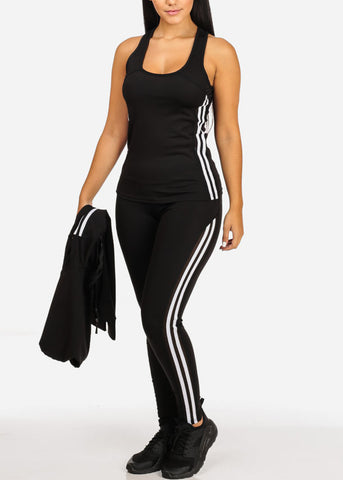 Women's Juniors Stripe Sheer Mesh Detail Black And White Workout Leggings Top Jacket (3 PCE SET)