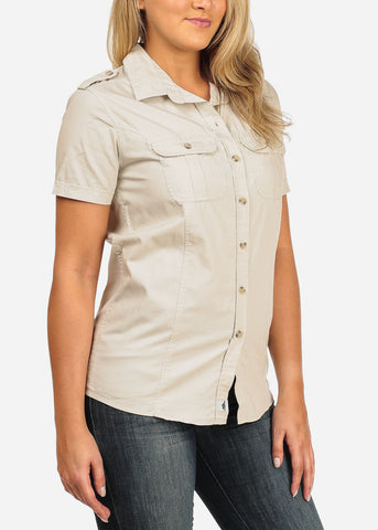 Image of Women's Junior Ladies Casual Formal Business Career Wear Short Sleeve Button Up Beige Shirt