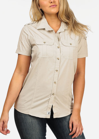 Women's Junior Ladies Casual Formal Business Career Wear Short Sleeve Button Up Beige Shirt