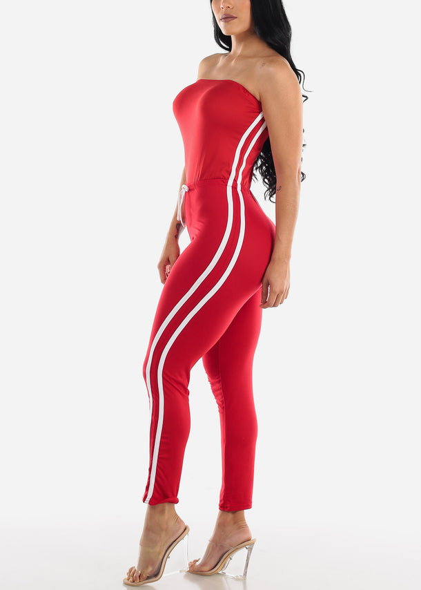 Side Striped Strapless Red Jumpsuit
